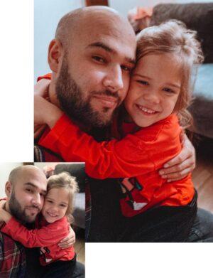 Preset Świąteczny - Córka z tatą przytulają się